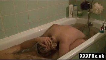 Extreme Blonde Teen Sucking Cock in Bath Deepthroat!