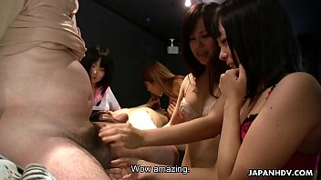 Yuri Sakura and her hostess friends suck and tug cocks