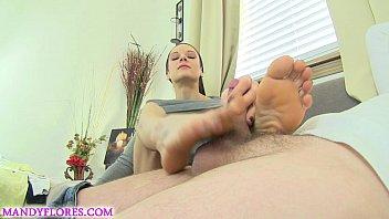 Mandy Flores Footjob cuckold w cumshot