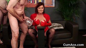 Wacky hottie gets sperm load on her face swallowing all the semen