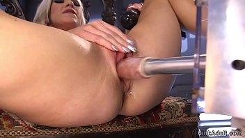 Hot blonde in fishnets masturbating