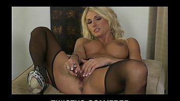 HOT blond MILF Alicia Secrets teases & masturbates in stockings
