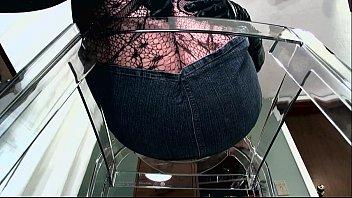 POV of dominant female in fishnets
