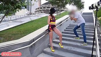 Jeny Smith Yellow Heels public flashing Thumb
