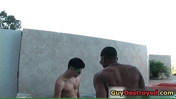 Sexy hunk blows giant black gay jizzster