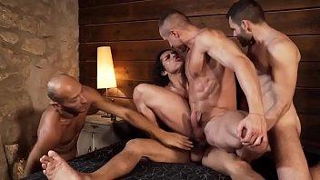 four gay men orgy