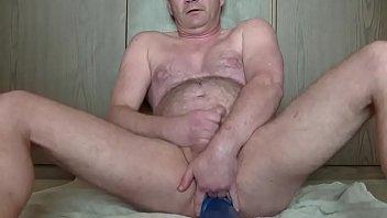 Huge blue anal dildo
