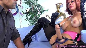 Redhead mistress rimming black submissive