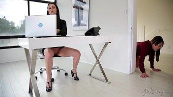 Georgia Jones licking her new boss pussy