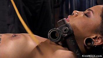 Petite alt ebony slave in device bondage