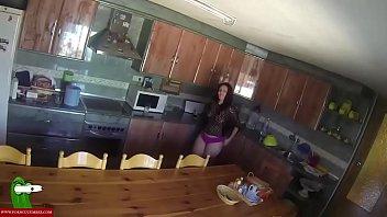 An erotic scene on the kitchen's table. SAN001