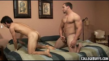 These two muscular frat hunks are having anal sex