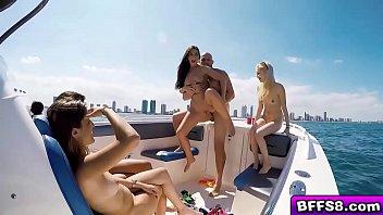 Naughty bikini babes got fucked on a boat