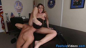 Cop licks cum off feet