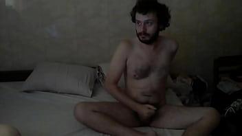 Bearded hairy fat chubby masturbating his small cock