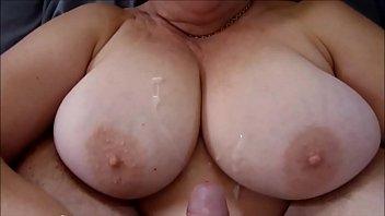 Cumming All Over her Big Milf Titties
