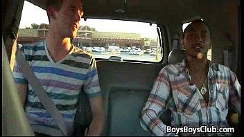 Black gay penetrates boy at driving bus