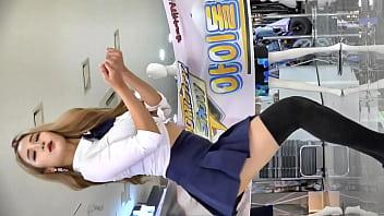 公众号【91公社】韩国妹子户外白衬衫超短裙黑丝高跟可爱舞蹈