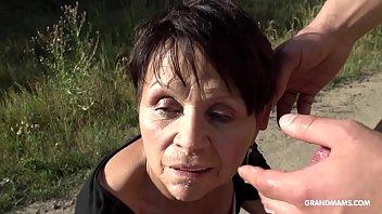 Short haired granny gets brutal fingering on a BM