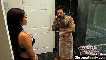 Hot daughter seducing stepdad after seeing his cock in bathroom