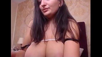 Busty girlfriend plays breast milk live webcam