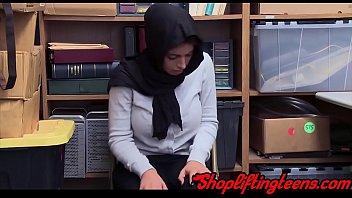 Arab teen shoplifer sucking cock and getting cum facial