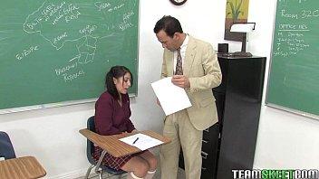 cute brunette schoolgirl Abby gets her wet teen pussy fucked by her prof