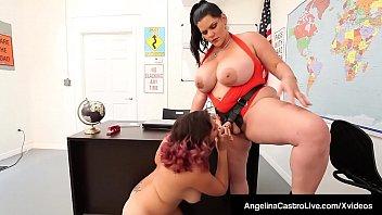 BBW Angelina Castro Strap On Fucks Gia Love's Tight Pussy!