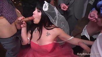 Slutty bride in blowbang porn