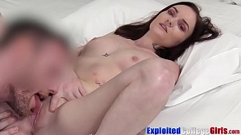 Inked college babe Jaylee fucks big cock for facial