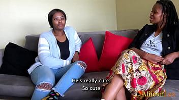 Ebony In Fishnets Fucked by Lesbian Friend