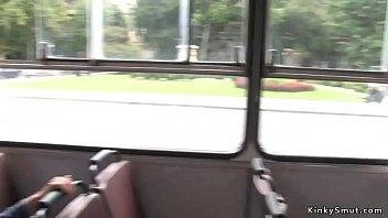Busty brunette fucked in public bus