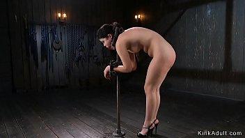 Waxed Asian in extreme bondage anal fingered