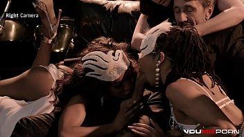 Interracial orgy w/ Kira Noir, Demi Sutra, Casey Calvert, and Steve Holmes