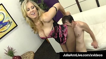 Fine FemDom Cougar Julia Ann Teases Cock With Hosed Feet!