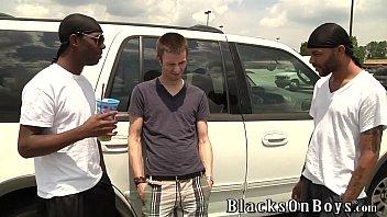 Aiden McAllister Handles Two Black Cocks