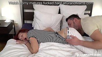 Skinny redhead grandma picks up boy and licks his big cock
