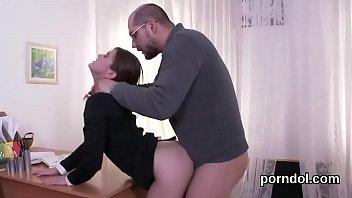 Cute schoolgirl is seduced and rode by older mentor