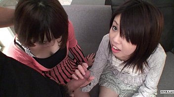 Subtitled Uncensored POV Japanese CFNM threesome blowjob in Full HD  #1142896