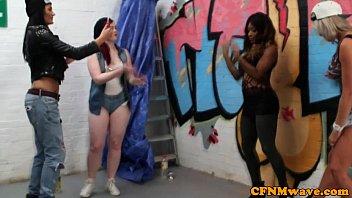 Femdom street artist Lissa Love gives bj