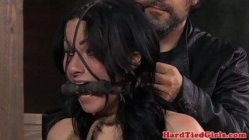 Mouthgagged nipple gagged sub in pain