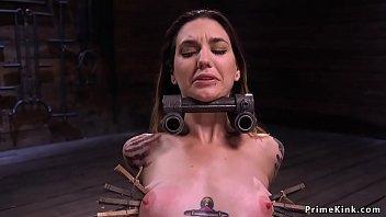 Alt slave in device bondage whipped