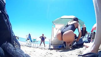 Hot mom on beach
