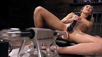 Blonde has orgasms on fucking machine