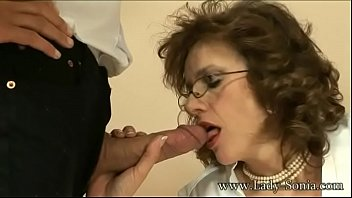 MILF Cougar Lady Sonia strokes a cock and eats his load
