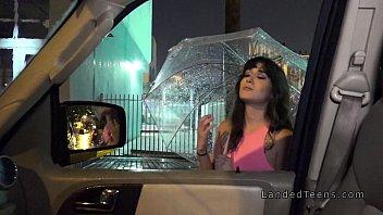 Big ass teen bangs in the car at rainy night