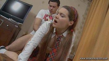 Tutor fucks schoolgirl ass