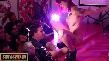 redhead public striptease and masturbation