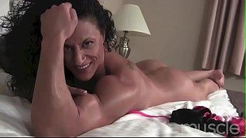 Topless female bodybuilder