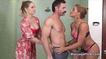 Big tit masseuses handling porn mustache'_s cock